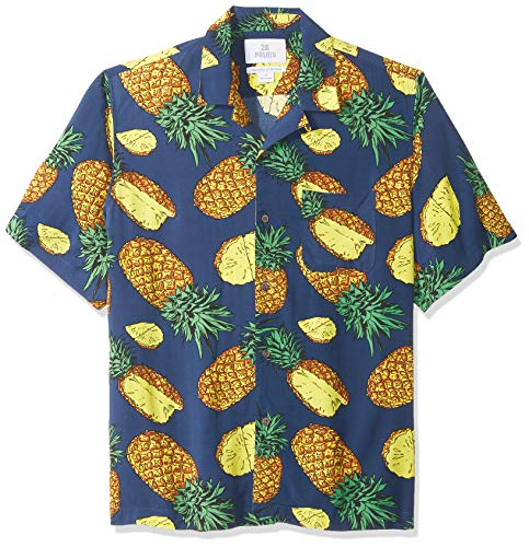 Marca Amazon - 28 Palms - Camisa vintage de rayón 100 {bc63d2bcc5cc32106c3a3555bb09e6660dbfb138088301f68f51a355d8443ff8} lavado y con corte holgado para hombre, diseño tropical hawaiano, Blue Large Pineapple, US XL (EU XL - XXL)