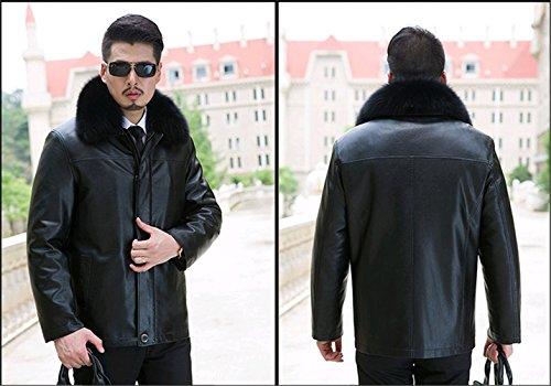 WS668 Winter Herren Leder Schaf Wolle Gefüttert Luxus Pelzkragen Warm Jacket 816-Schwarz