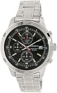 Seiko - SKS421P1 - Montre Homme - Quartz Chronographe - Cadran Noir - Bracelet Acier Gris