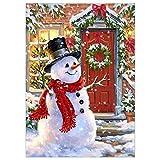 ODJOY-FAN Schneemann Punktbohrer Gemälde, Weihnachten Dekoration Gemälde Diamant Malerei Strass Perspektive Eingefügt Stickerei Gemälde DIY Zuhause Dekor (30X40cm) (D,1 PC)