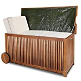 Deuba® Auflagenbox | Akazien Hartholz | Innenplane Griff Räder 117cm | Holztruhe Kissenbox Truhe Gartenbox Gartentruhe