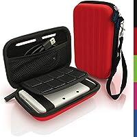 igadgitz Rosso EVA Borsa Custodia Rigida per Nuovo Nintendo 3DS XL (Tutte le Versioni) Case Cover con Cinturino - Plastica Morbida Borsa