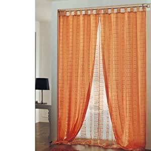 Coppia tende 60x150 arancio doppio velo casa e for Tende amazon