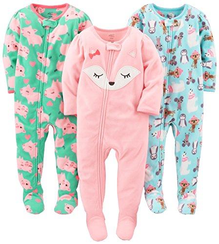 Simple Joys by Carter's Baby und Kleinkind Mädchen 3er-Pack, lockere Passform, Fleece-Schlafanzug ,Polar Bear/Pigs/Fox ,12 Months