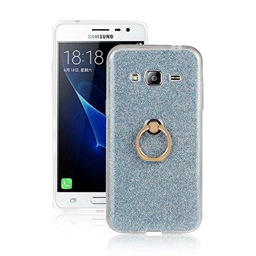 Futypei Samsung Galaxy J3 Hülle Weiche Silikon Bumper Cover Glitzern Handyhülle Kratzfest Stoßfest Schutzhülle Case Glitter Bling Handytasche Slim Etui Silikon Case Blue
