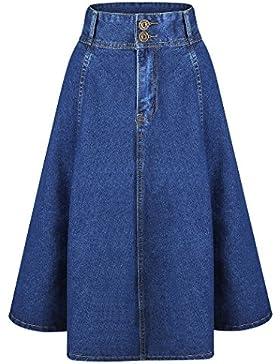 Yichaoyiliang Denim de algodón Mezclilla Vestido Midi Falda Cintura Alta Falda Vaquera Azul Marino Para Mujer