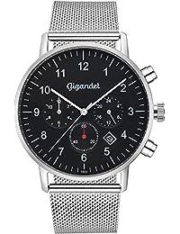 Gigandet Herrenuhr Minimalism II Armbanduhr Edelstahl Herren Zwei Zeitzonen GMT Analog Datum Milanaise Edelstahlarmband Uhr Schwarz Silber G21-006