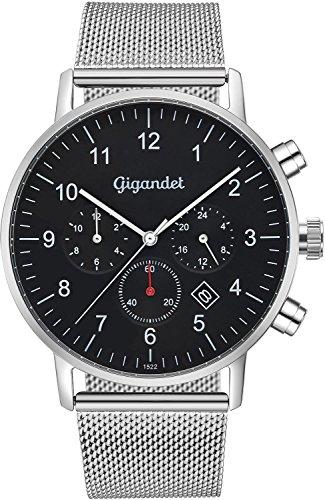 Gigandet Minimalism II G21-006–Reloj de cuarzo para hombre, analógico, con doble horario, fecha, correa de cuero, colores plata y negro
