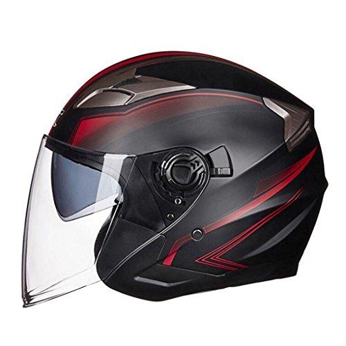 DLD Casco moto casco open-face casco doppio occhiali sicurezza moda personalità per le donne degli uomini (Colore : Black red, dimensioni : L.)