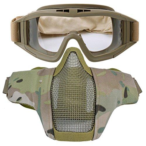 Kapmore Airsoft Maske, Mesh Gesicht Schädel Maske Airsoft Halbmaske Ausrüstung Stahl Airsoft Masken (Goggle + Mask(Camouflage 5))