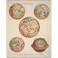 POSTER Geography. Projections of the sphere, and common terrestrial globe Columbia British University Wall Art Print A3 replica