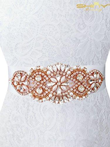 Rose 0cmx5 Gold Trim da fascia 0cm con Gold Strass Rose per nuziale doccia 14 sposa RA010 abiti BgaxFOq