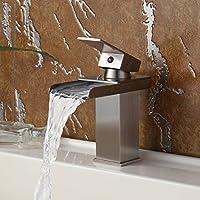 Hiendure® monocomando Ottone Lavandino rubinetto del bagno Cascata beccuccio nichel spazzolato