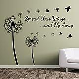 Diente de león floral spread Your Wings y pájaros Vinilo Pared Pegatinas decoración flor A363, vinilo, negro, Large-Set