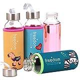Trinkflasche aus Glas Glastrinkflasche mit Tuchhülle Flache Wasserflasche für Kinder Student Schüler Mädchen Glasflasche BPA Frei Schönes Design mit Schutzhülle für Büro Klassenzimmer 400ml
