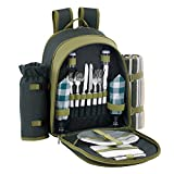 VonShef 2 Person Green Picnic Backpack Hamper with Cooler Bag includes Tableware & Fleece Blanket