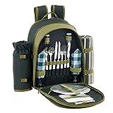 VonShef 2 Personen Grüner Picknick Rucksack Picknickkorb mit Kühlfach inklusive Geschirr & Fleecedecke