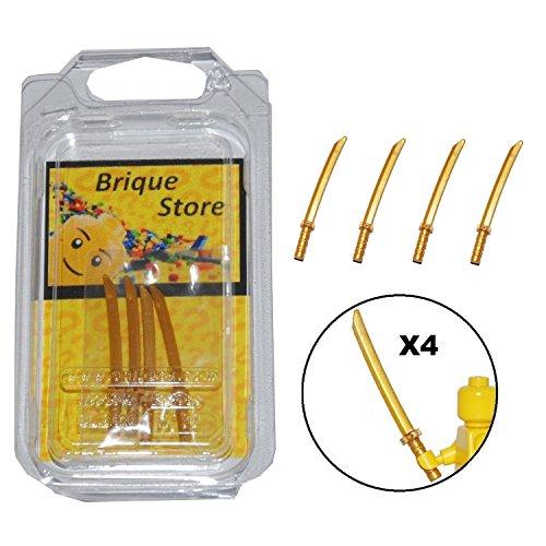 Accessoires pour Figurine LEGO® - Lot 4 Katana d'or - Ninjago