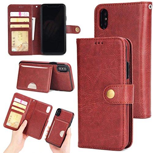 2 in 1 Abnehmbare Folio Beutel Brieftasche Stand Abdeckung Fall mit stilvolle Manetische Niet Verschluss Lanyard und Card Slots für iPhone X ( Color : Brown ) Brown