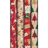 4x 8m Rouleaux de cadeau de Noël Wrap papier d'emballage écossais traditionnel Renne