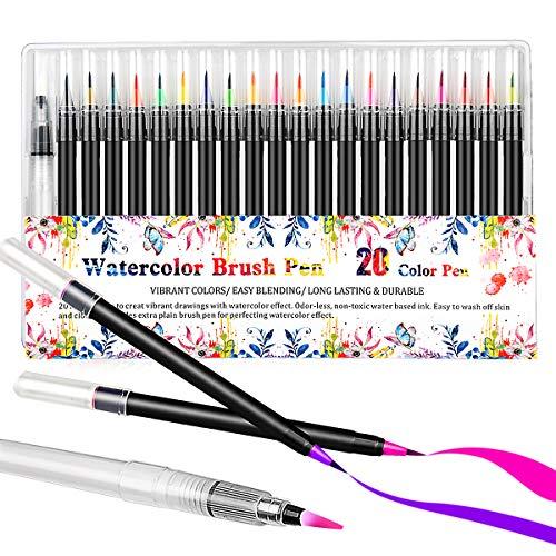Brush Pen, YIYIHUI 20+1 Pinselstifte Handlettering Stifte, Kalligraphie Stift, Bullet Journal Zubehör, Aquarellstifte für Malbuch, Lettering, Manga Zeichnen, Graffiti, Anfänger und Kinder Geschenk