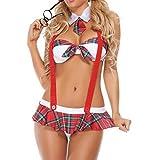 Lencería Mujer Amlaiworld Ropa interior Linda uniformes tentación tallas grandes (XL, Rojo)