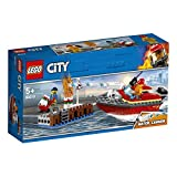 LEGO 60213 City Fire Dock Side Fire Boat Playset, Firefighter minifigure and Acessories, Bath Toys for Kids