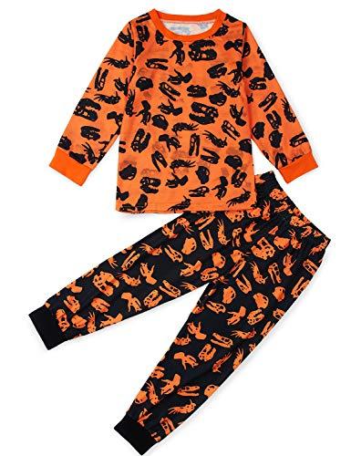Rave on friday pigiama a maniche lunghe per bambino girocollo animale nero stampare divertente modello abbigliamento da casa set pigiama 2-3 anni