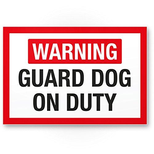 Warning Guard Dog - Hunde Kunststoff Schild, Hinweisschild Gartentor/Gartenzaun - Türschild Haustüre, Warnschild Abschreckung/Einbruchschutz - Vorsicht/Achtung Hund