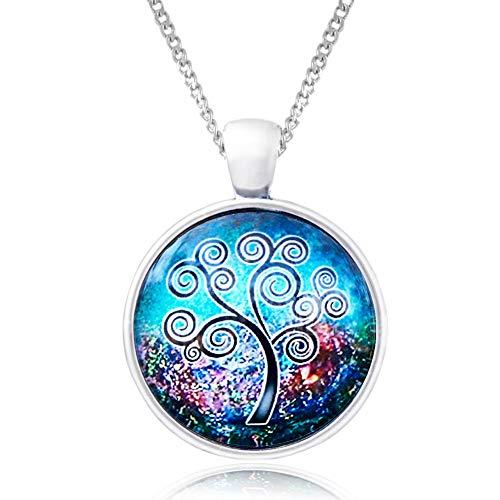 Kette mit Anhänger aus Glas - Buy one & Plant one Tree - Hochwertige Halskette aus Edelstahl mit Baum des Lebens Medaillon im Blau-Rosa - Eco & Fair ()