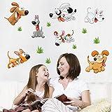 Camera dei bambini Adesivi murali per scuola materna Cartone animato Decorazione per cani carino Parco giochi per animali bambina 50X70cm