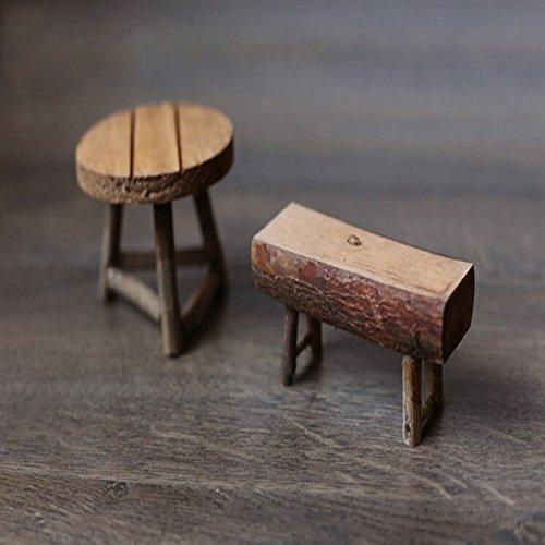 Bazaar grobe Holz Kleiner Tisch Hocker Mini Tisch und Bank Garten Dekoration