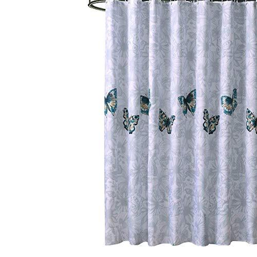 Farfalle decor tenda doccia, resistente alla muffa impermeabile durevole poliestere tessuto bagno tenda con ganci libero 182,9cm * 182,9cm (ylb01), poliestere, white, medium