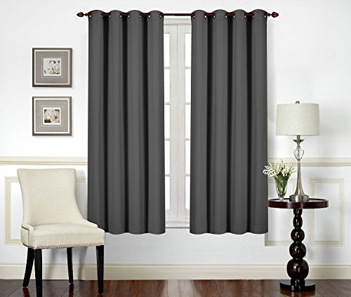Blackout Room Darkening Curtain – Thermal Insulating Window Curtains / Panels / Drapes – 2 Panels Set – 8 Grommets per Panel – 2 Tie Back Included (Grey, 46×54 with Grommets) – by Utopia Bedding