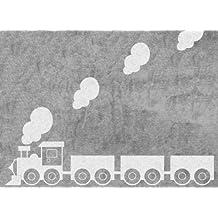 Aratextil Tren Alfombra Infantil, Algodón, Gris, 120x160 cm