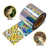 Luckybaby Nastro antirapina per dissuasione 150 FT, coloratissimo Nastro Adesivo per Uccelli Riflettente deterrente Scintillante - Nastro Anti-graffio su Due Lati per piccioni, gracidi, Picchi, oche
