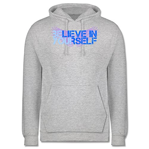 Statement Shirts - BElieve in YOUrself - Männer Premium Kapuzenpullover / Hoodie Grau Meliert
