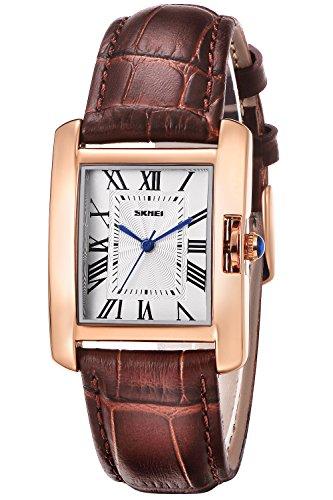 INWET Unisex Uhr Analog Quarz mit Braun Leder Armband Rechteck Zifferblatt