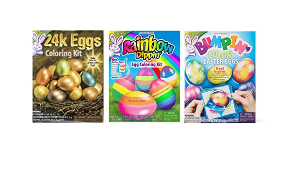 Razzledazzlecelebrations 3pk 24k Eggs Bumpin Color Rainbow Dippin Egg Coloring Kit Easter Egg Dye Amazon In Toys Games