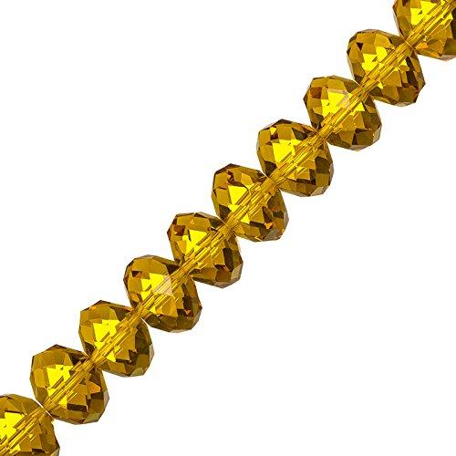 facettiertem Bernstein Kristall Rondelle Perlen 10x 14mm 20,3cm Strand -