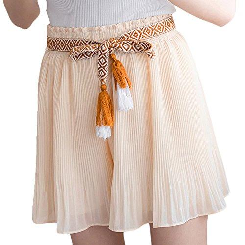 Scothen Damen Mädchen Basic Solid vielseitige dehnbaren informell Mini Skater Rock Women Chiffon Boho Plissee Retro Maxi Mini Rock-elastischen Bund Tanz-Kleid Aprikose