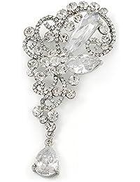 Declaración claro cristal austríaco, CZ encanto broche en rodio chapado–10cm L