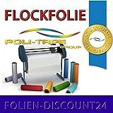 (EUR 25,80 / Quadratmeter) FLOCKFOLIE TbT 300 BLUE BÜGELFOLIE TOP ! Preistip Flex Flock 1 M x 50 cm POLITAPE