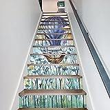 Frolahouse Aquarell-Heißluft-Ballon-Treppen-Aufkleber, kreative Tapeten-Treppen-Aufkleber der Wand-3D, selbstklebendes entfernbares wasserdichtes Treppenhaus-Wandgemälde Abziehbild für Kinderzimmer Kindergarten - 13 PC / Satz