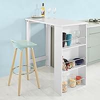 SoBuy® Mesa de Bar, Mesa de Comedor con 3 Estantes,blanco, H106cm,FWT17-W, ES (Blanco)