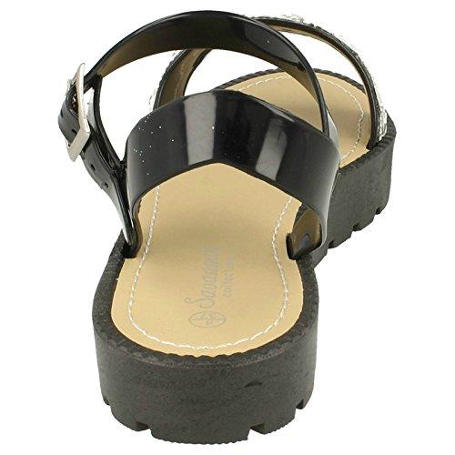 Mesdames Flatform Savane à bout ouvert Sandales Noir - noir