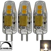 PB-Versand - 3 lampadine di ricambio G4 mini LED, 1,5 Watt, 12 V AC/DC, bianco caldo, in silicone (gel di silice), kit alogeno per dimmer