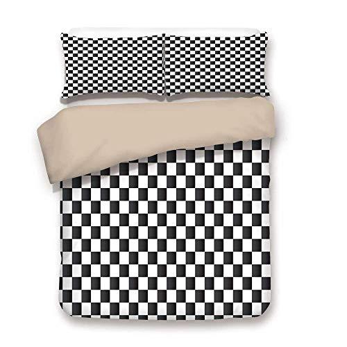Juego de fundas nórdicas, a cuadros, composición monocromática con tablero de ajedrez clásico Inspirado Estampado de azulejos abstractos Decorativos, Blanco Negro, Juego de sábanas decorativo de 3 pie