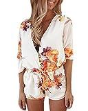 Zanzea Damen V-Ausschnitt Floral Sommer Strand Party Club Overall Jumpsuit Kurz Shorts 01-Beige Druck Etikettgröße L