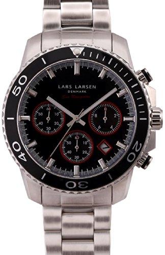 Lars Larsen Sea Navigator-Orologio da uomo al quarzo con Display analogico e cinturino in acciaio INOX color argento 134SSCSB
